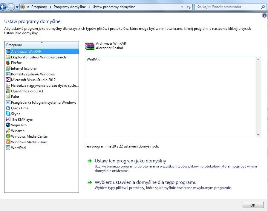 Zmiana domyślnych programów w Windows 7. Otwieranie za pomocą domyślnego programu.