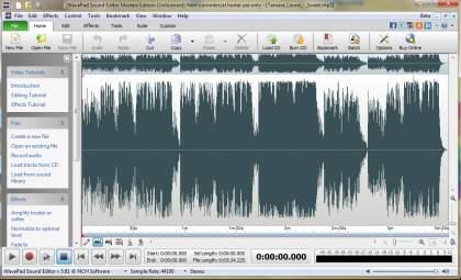 zmiana głośności muzyki wavepad sound editor