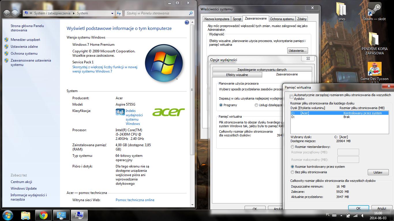 Optymalizacja pamięci wirtualnej – Windows 7/8