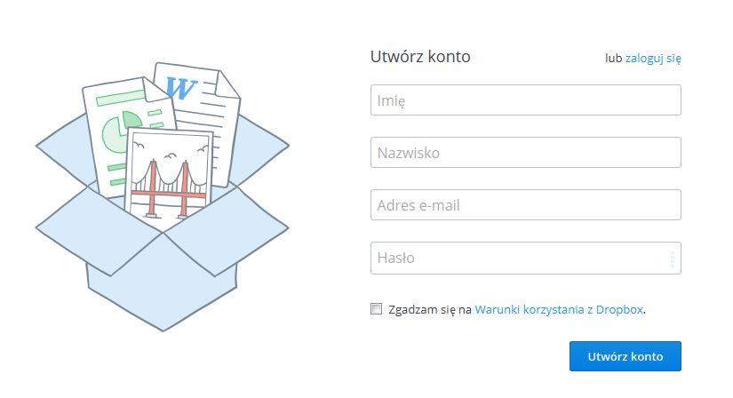 rejestracja dropbox